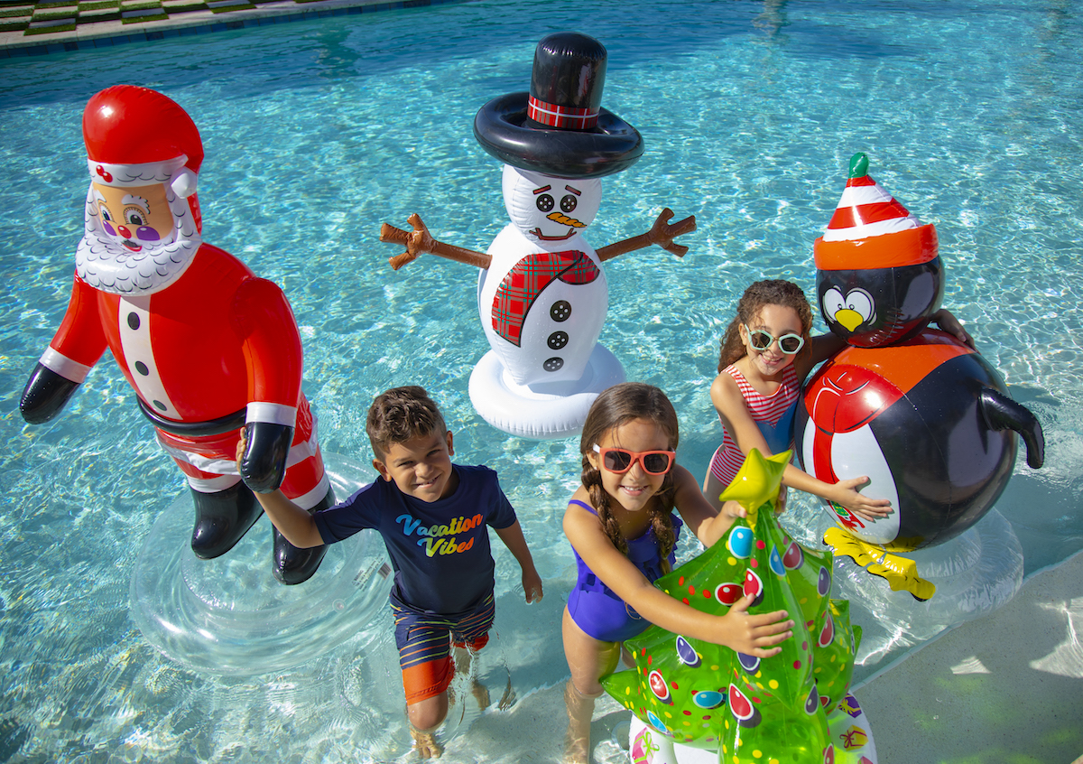 holiday pool float christmas