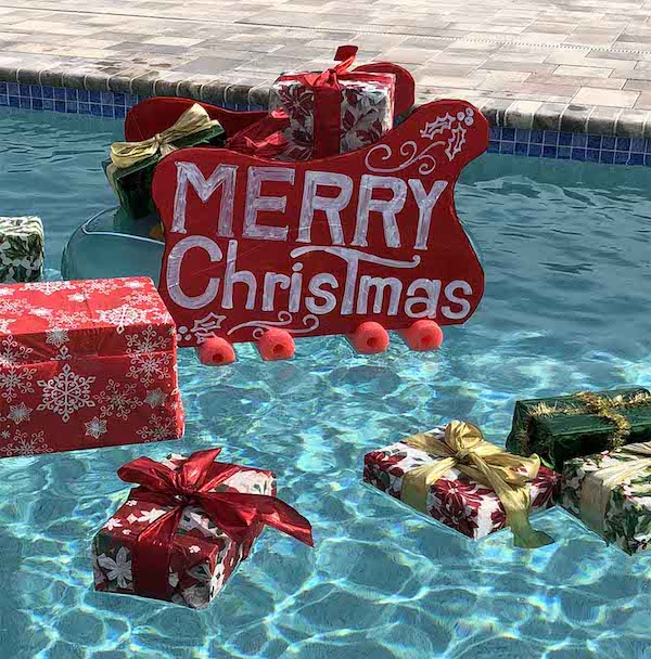 Santa's Sleigh in Your Swimming Pool