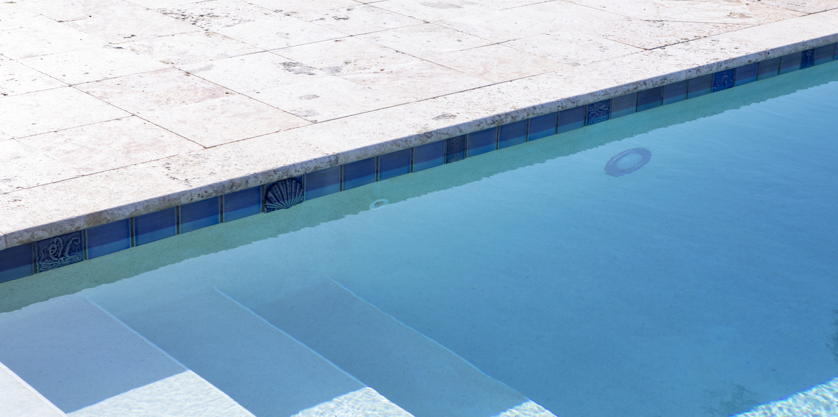 pool deck and steps after acid wash