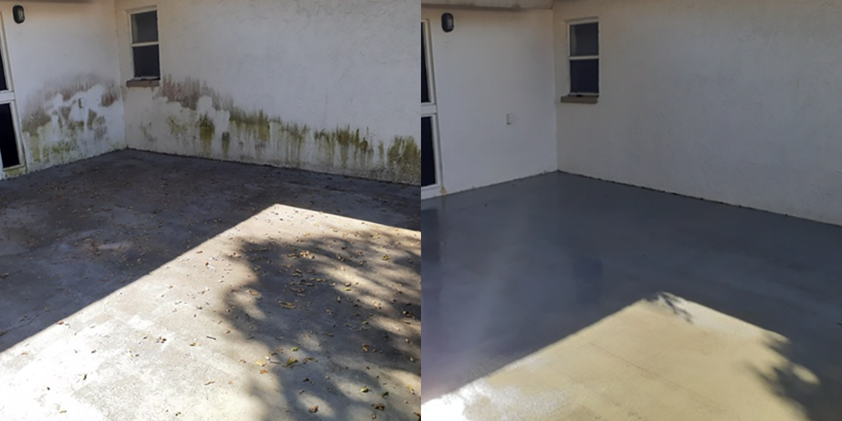 Pressure Washing Before and After Patio