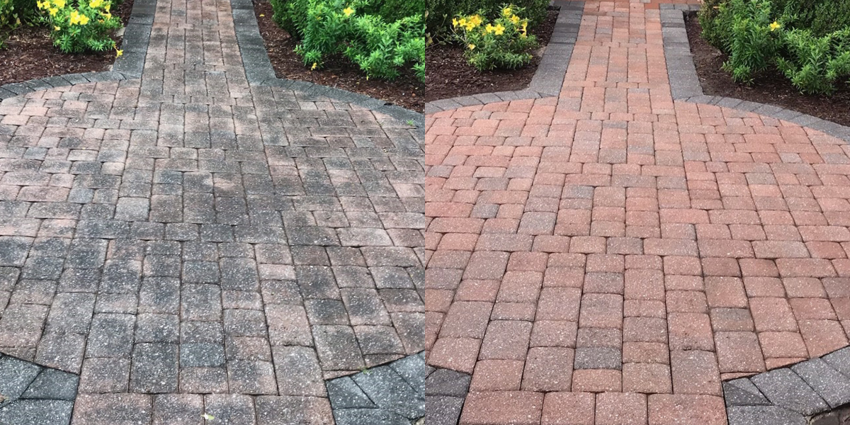 Pressure Washing Before and After Walkway